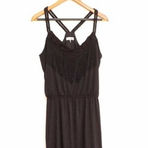 Speechless black rayon fringe L boho tank dress